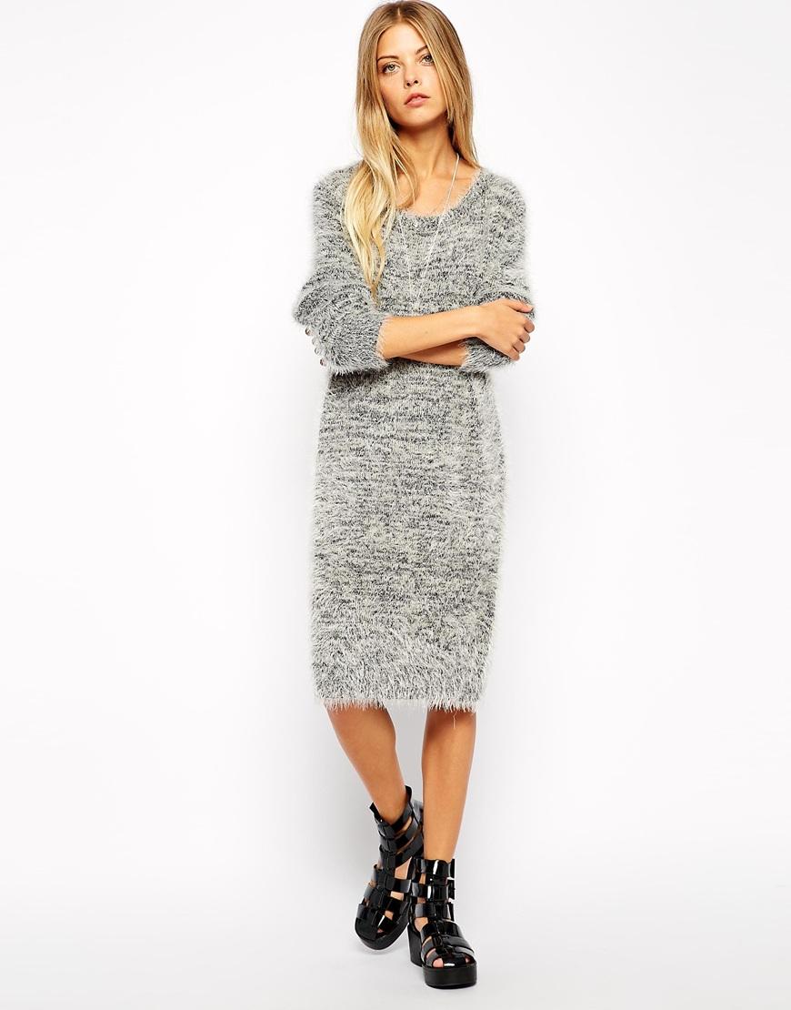 Noisy May Fluffy Knitted Dress at asos.com