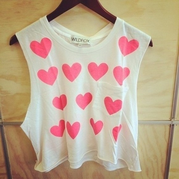 pink and white tank top hearts crop tops