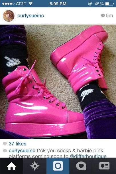 shoes platform shoes pink