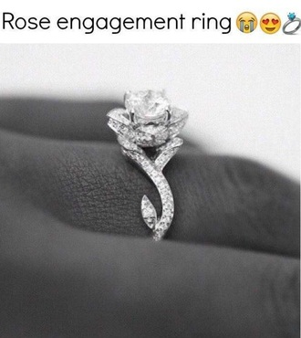 jewels ring rose silver diamonds engagement ring