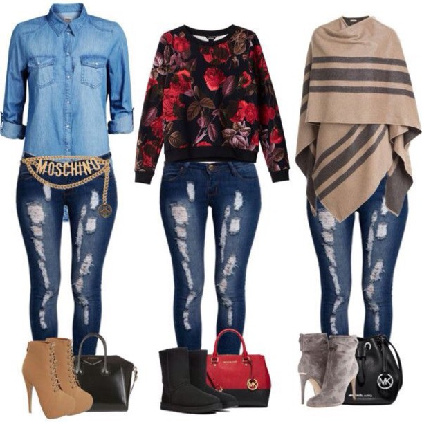 jeans ripped jeans outfit fashion swimwear sweater