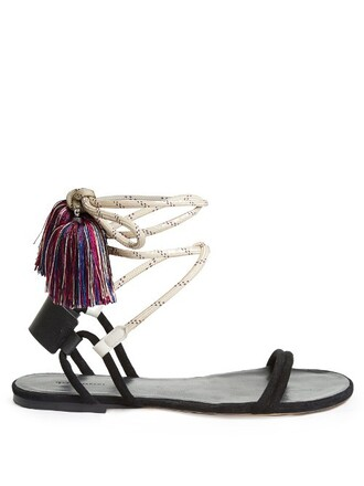 tassel sandals black shoes