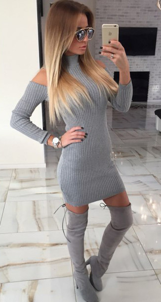 Dress lace dress grey outfit outfit idea fall outfits knitwear knitted sweater sweater ...