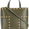 Tory burch - block-t stud mini tote - women - leather - one size, green, leather