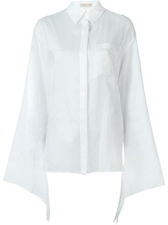 shirt sheer shirt embroidered sheer white top