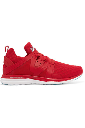 mesh sneakers red shoes
