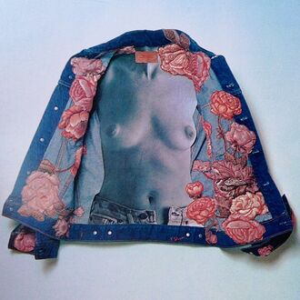 jacket pink roses jean jackets blue jacket denim jacket denim women nude naked flowers rose roses blue tumblr tumblr outfit art