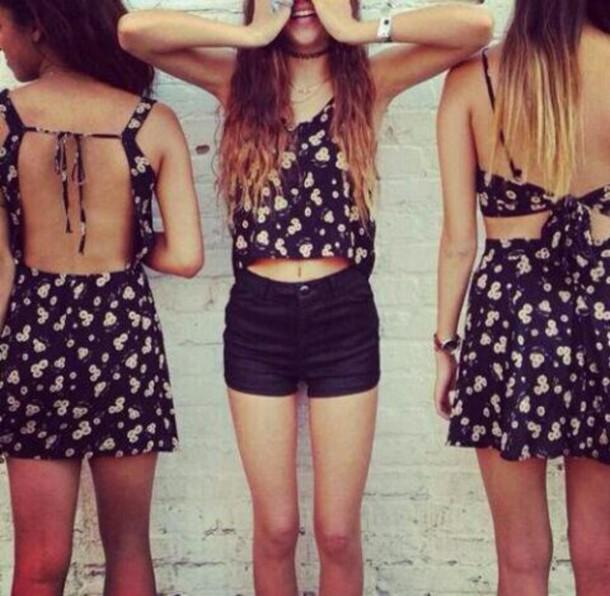 Dress: cute, floral, black, daisy, tank top, open back ...