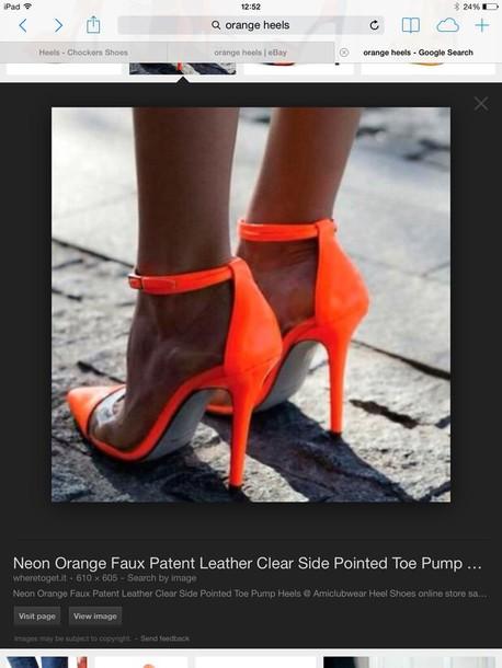 shoes neon orange heels