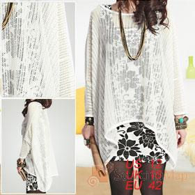 Ladies white batwing sleeve top