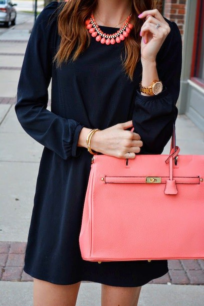 bag pink purse navy dress pink necklace dress gold watch