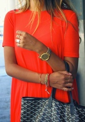 t-shirt,orange top,red top,orange red,blood orange,over sized top,dress shirt,fashion,pretty,stylish,new in,2014,trendy,2014 trend,magazine,pinterest,internet,cyber loveee,jewelry,watch,dress,jewels
