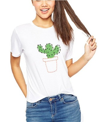 shirt cactus print cactus t-shirt cute shirt white shirt soft t-shirt novelty
