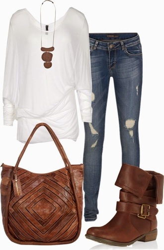 shoes white brown brown leather boots bag leather bag distressed jeans jeans denim long sleeves necklace cute jewels blouse