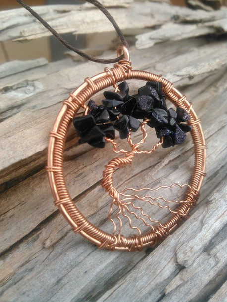 Jewels Tree Of Life Wirebwrap Copper Pendant Tree Of Life