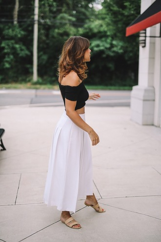 pants tumblr white pants culottes top black top off the shoulder off the shoulder top crop tops shoes slide shoes