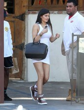 shoes,sneakers,kylie jenner,white dress,dress