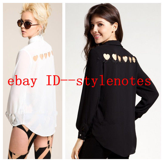 Women Heart Cut Out Back Sheer Point Collar Long Sleeve Chiffon Shirt Blouse Top | eBay