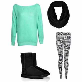 mint green shirt baggy sweaters sweater leggings tribal pattern scarf boots pants shirt black and white aztec print leggings. uggs boots bailey bow brown sweater weather aztec leggings