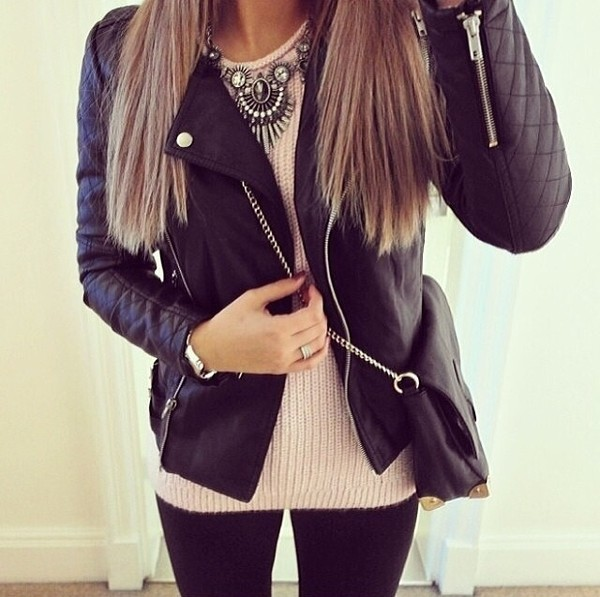 jacket black leather jacket jewels sweater bag black leather jacket top t-shirt jacjet+ pullover shoulder bag
