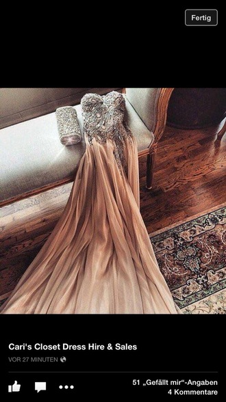 dress beige long nude dress beige dress bedazzled dress beautiful ball gown dress pretty jewels prom dress long prom dress prom gown sleeveless dress style clutch bedazzled graduation dress cool elegant dress