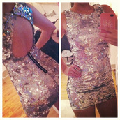 dress,sequin dress,sequins,girly,silver,open back,short dress,silver sequins