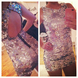 dress sequin dress sequins girly silver open back short dress silver sequins