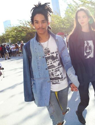 jacket luka sabbat denim jacket mens jacket menswear mens t-shirt jeans ny fashion week 2016 model off-duty streetstyle