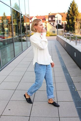 shoes babouches black babouches slippers jeans boyfriend jeans blue jeans blouse white blouse spring outfits