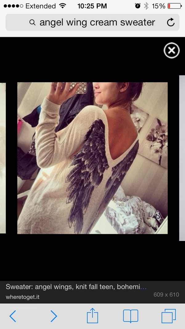sweater cream angel wings
