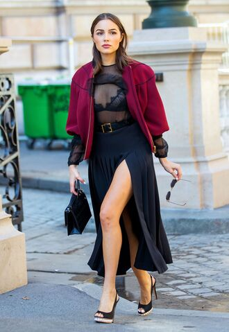 skirt blouse see through belt jacket olivia culpo fall outfits