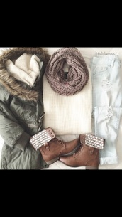 boots,shoes,jacket,jeans,scarf,shorts,army green fur hood long winter jacket