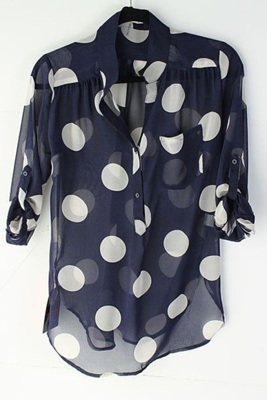 blue and white blouse poka dots rolled sleeves