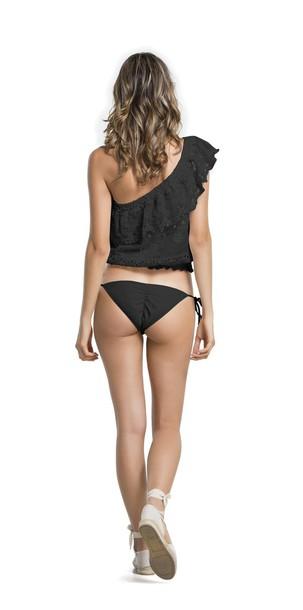 top top black agua bendita black bikini one shoulder beach summer outfits bikiniluxe