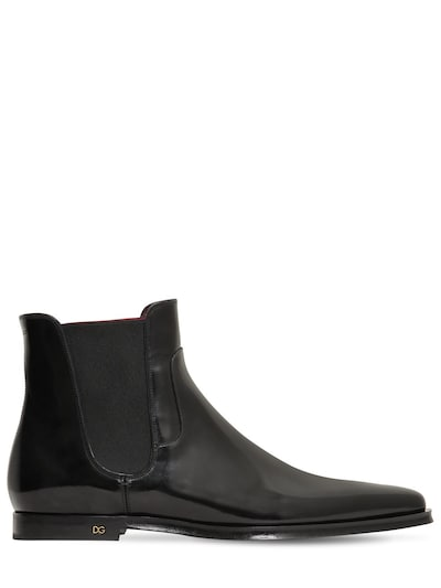 DOLCE & GABBANA Leather Chelsea Boots Black