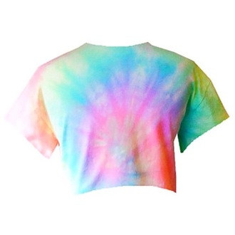 top tie dye blue pink yellow green orange