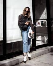 jeans,denim,cropped jeans,top,shoes,bag,sunlgasses,polka dots top
