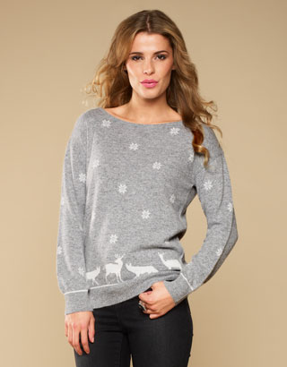 Alessia Animal Snowflake Jumper | Grey | Monsoon