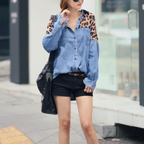 blouse denim leopard print leopard print