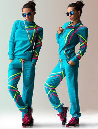 romper zefinka sweatshirt sweatpants sweatsuit set 2 piece set women athletic activewear set tracksuit neon blue black sportswear comfy