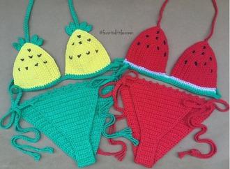 swimwear girl girly girly wishlist bikini bikini top bikini bottoms crochet crochet bikini cute two-piece swimwear two piece pineapple watermelon print matching set