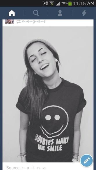 shirt black smile boobs funny smiley