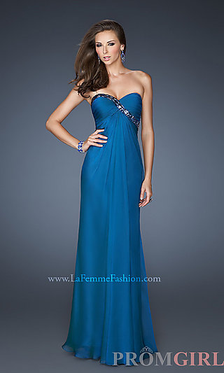 Long Strapless Dress for Prom, La Femme Beaded Gowns- PromGirl