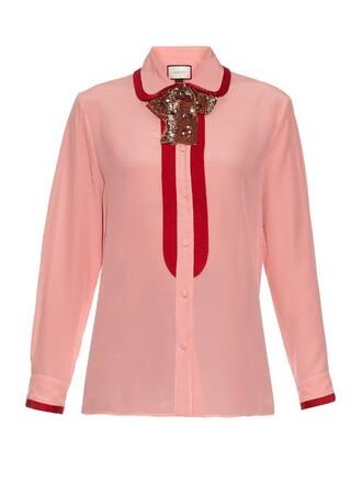 shirt bow silk pink top
