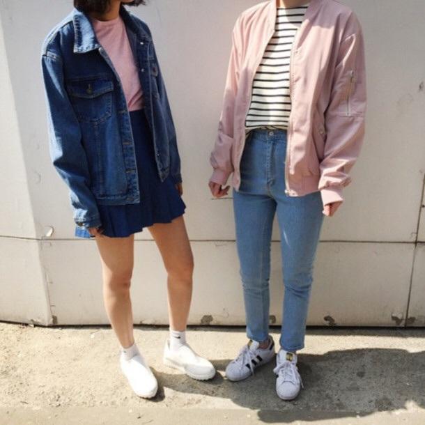 0848552118e jacket 90 80 fashion 80s style jeans denim jacket pink striped shirt blue  skirt shoes