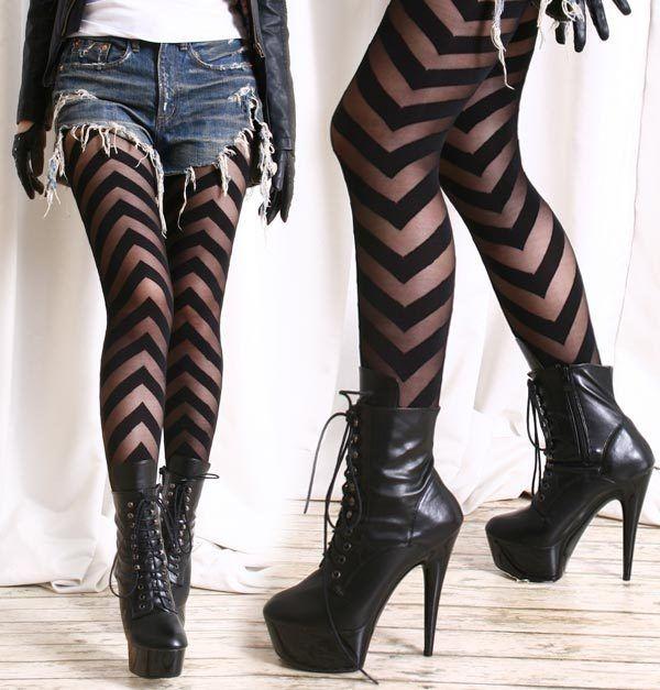 Party Club Runway Chic Fashion Punk V Ribbon Up Sheer Opaque Tights Pantyhose