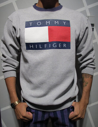 sweater tommy hilfiger oversized grey top cute