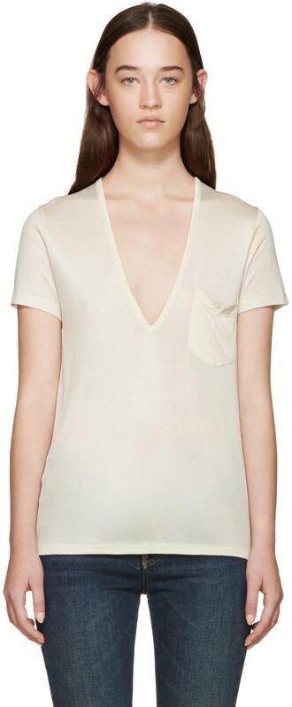 t-shirt shirt silk cream top