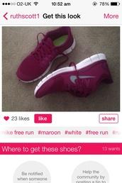 shoes,nike free run,burgundy,women's nike running shoes