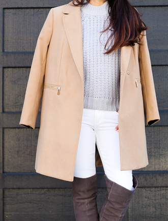 stylish petite blogger sweater coat jeans shoes bag hat jewels make-up nail polish over the knee boots nude coat